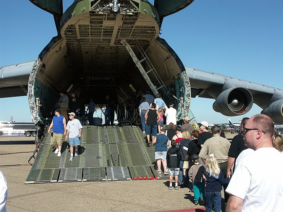 Lining up to view the C-5's cargo bay